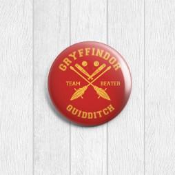 Значок круглый Gryffindor Quidditch Team